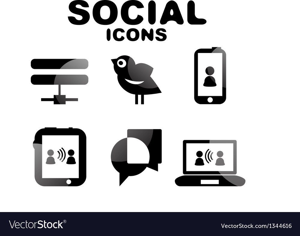 Black glossy social icon set vector | Price: 1 Credit (USD $1)