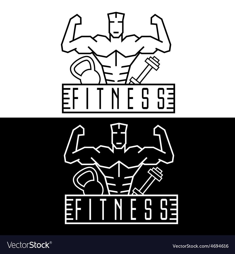 Bodybuilder fitness model line craft emblem vector | Price: 1 Credit (USD $1)