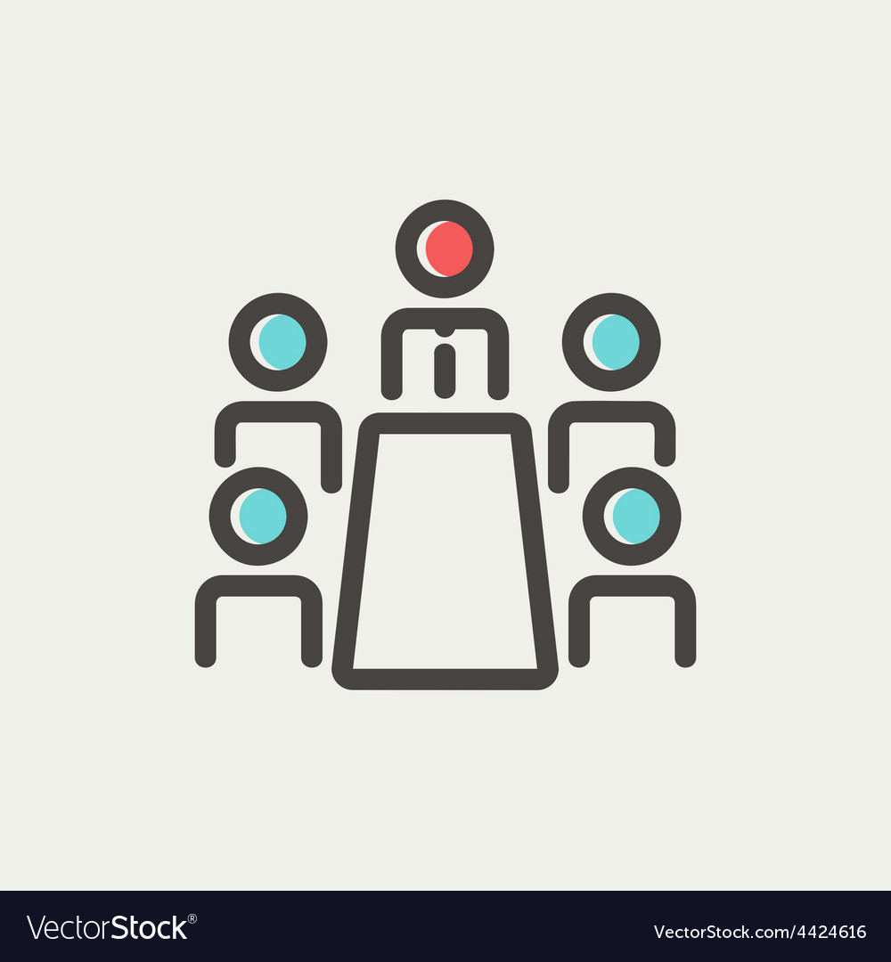 Business meeting in office thin line icon vector | Price: 1 Credit (USD $1)