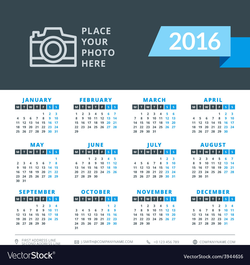 Calendar 2016 decign template week starts monday vector | Price: 1 Credit (USD $1)