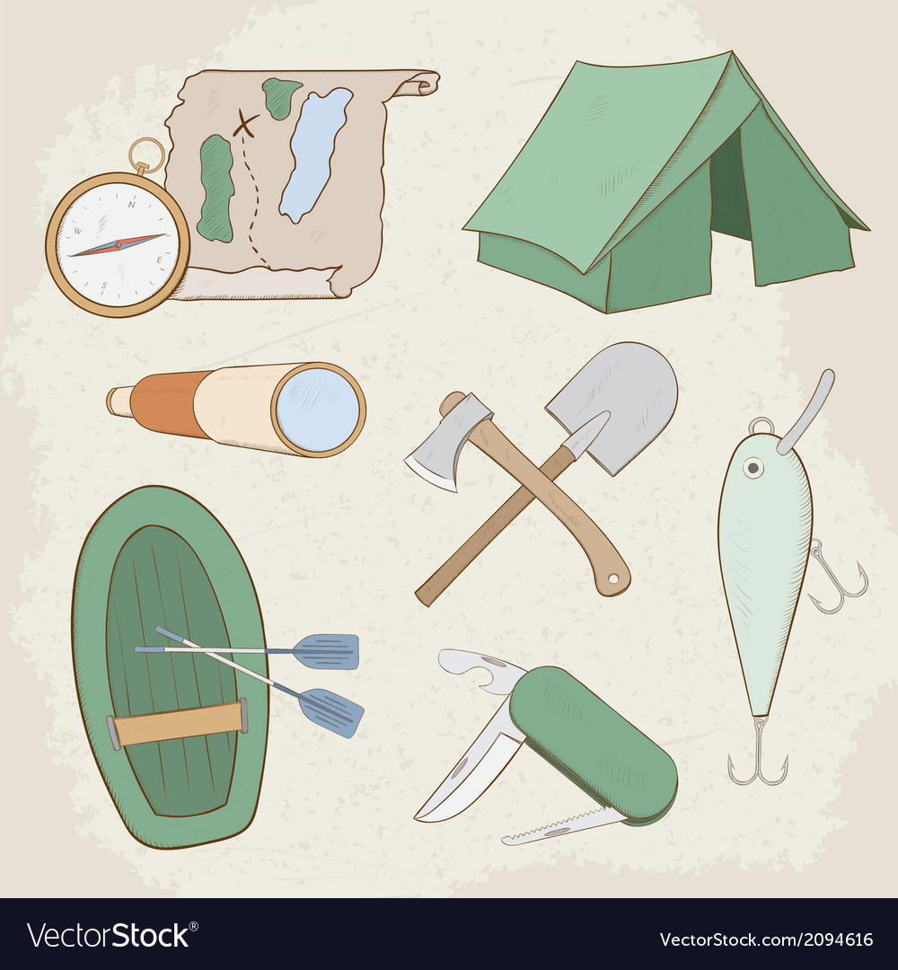 Camping hand drawn icons vector | Price: 1 Credit (USD $1)
