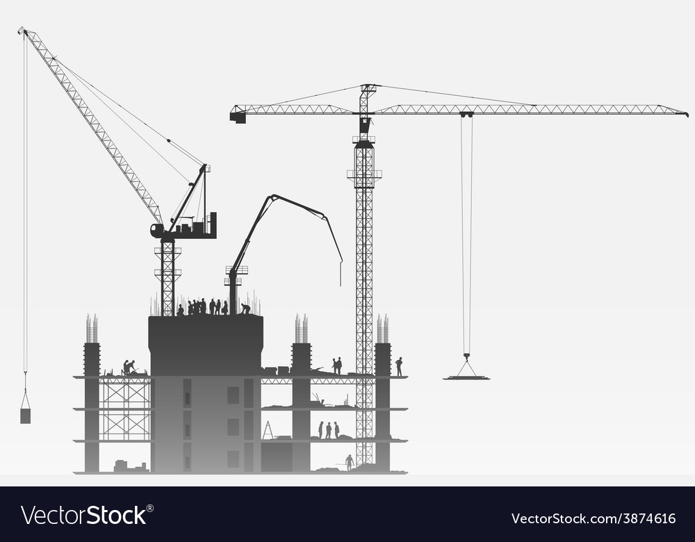 Construction site with tower cranes vector
