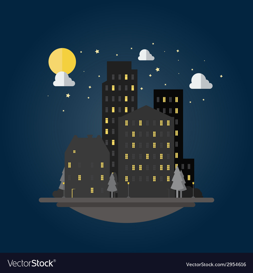 Flat design of cityscape at night vector | Price: 1 Credit (USD $1)