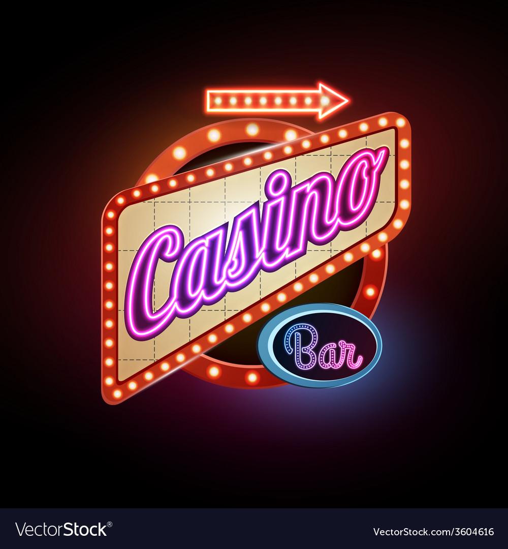 Neon sign casino vector | Price: 1 Credit (USD $1)
