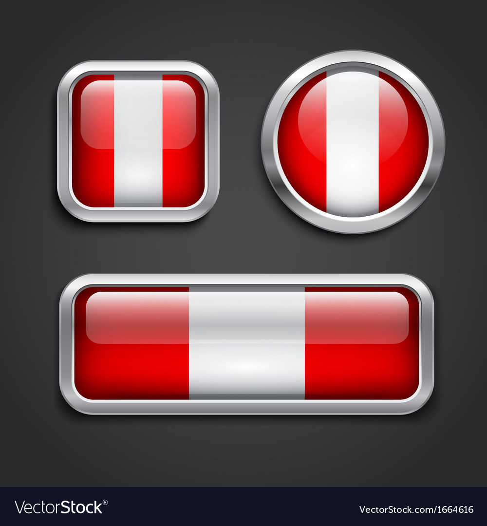 Peru flag glass buttons vector   Price: 1 Credit (USD $1)