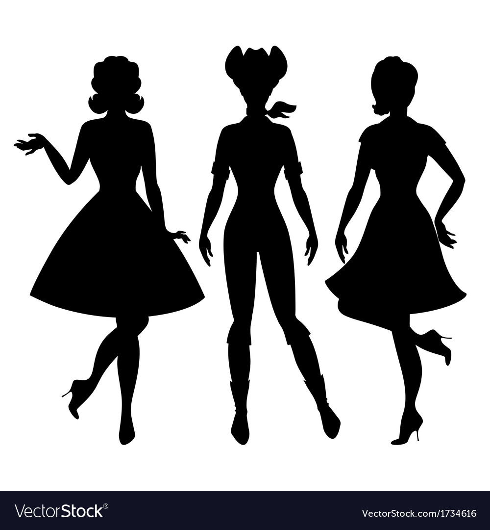 Silhouettes of beautiful pin up girls 1950s style vector | Price: 1 Credit (USD $1)