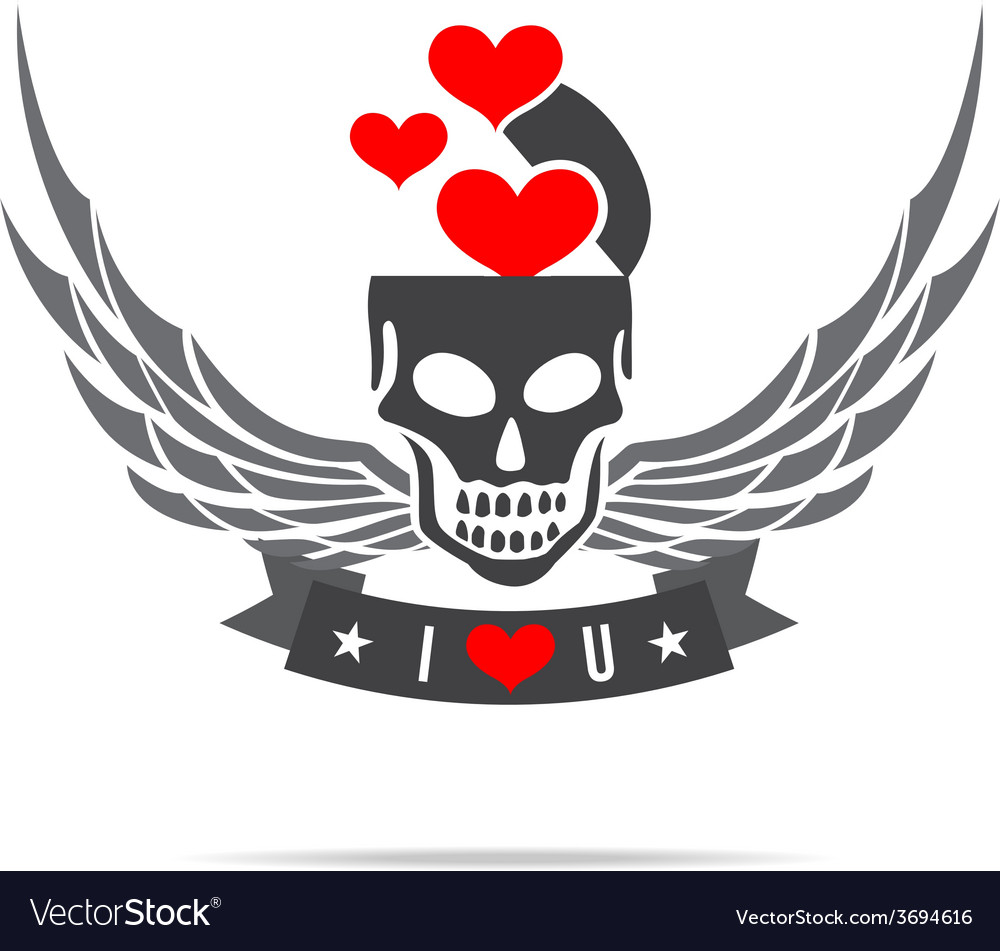 Skeleton skull with wing logo emblem element 002 vector | Price: 1 Credit (USD $1)