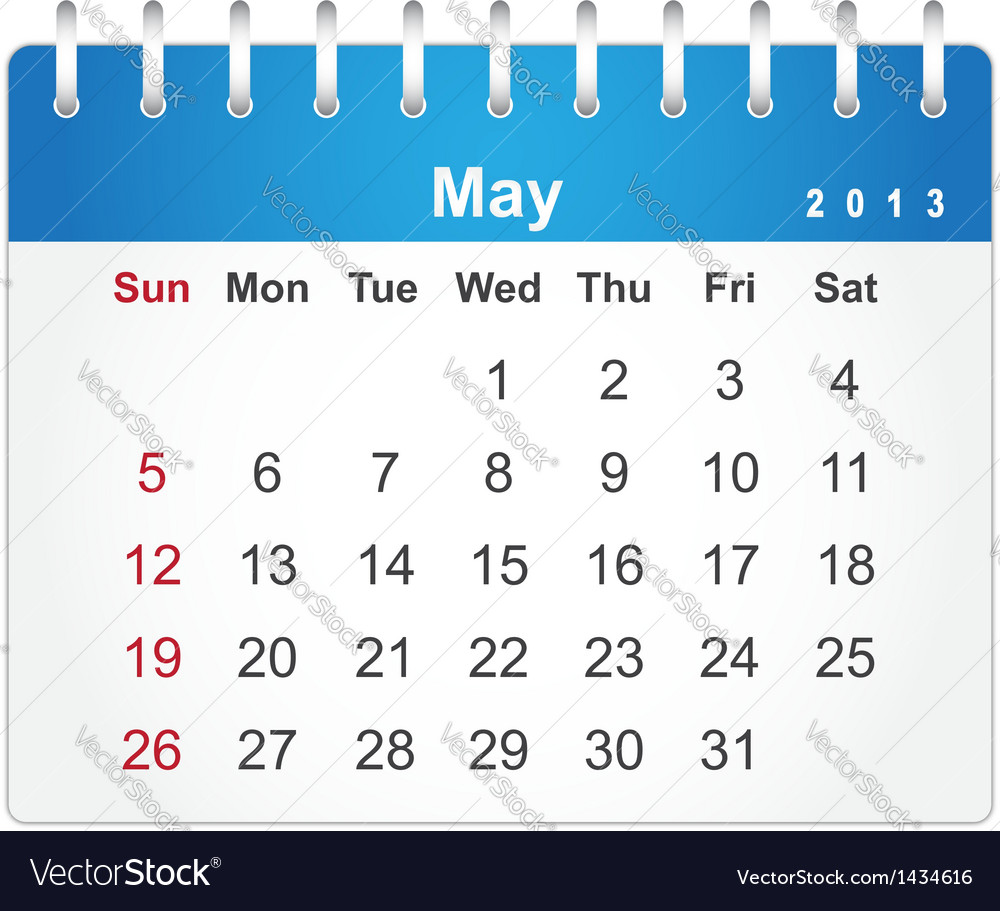 Stylish calendar page for may 2013 vector | Price: 1 Credit (USD $1)