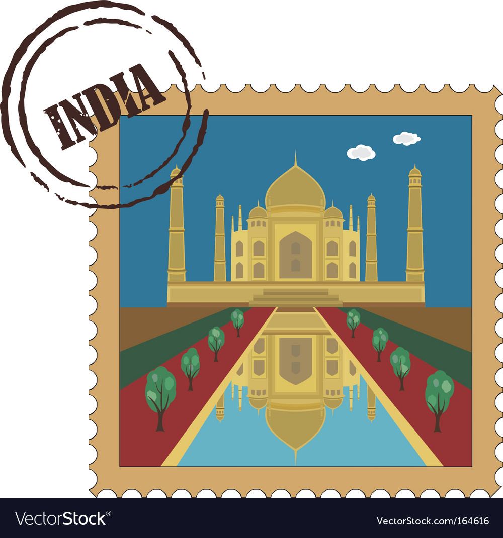 Taj mahal postage stamp vector | Price: 1 Credit (USD $1)
