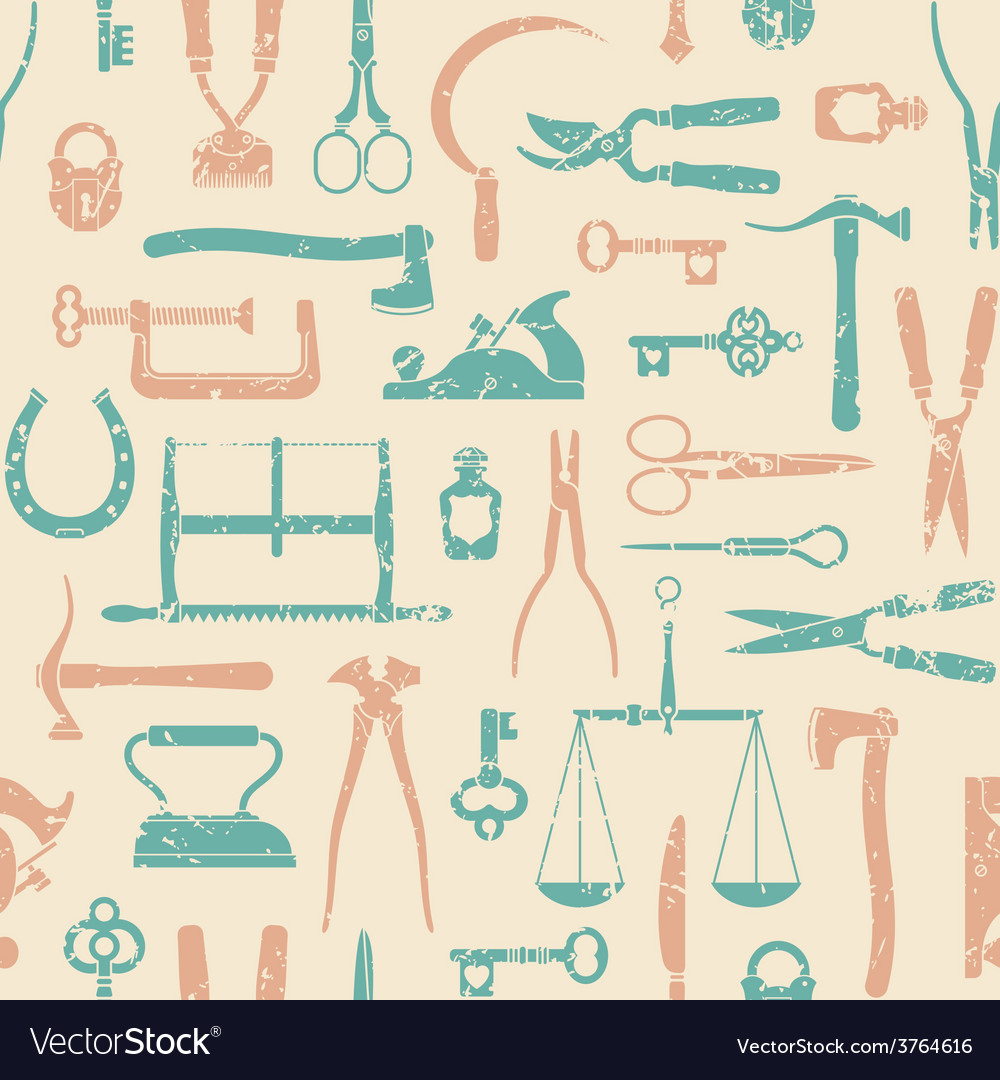 Vintage tools and instruments pattern 1 vector | Price: 1 Credit (USD $1)