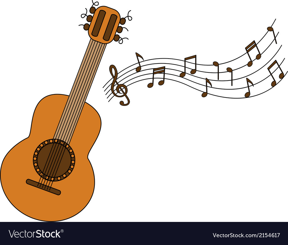 Cartoon acoustic guitar and sheet music vector | Price: 1 Credit (USD $1)