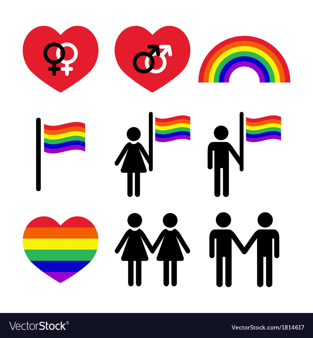 Gay and lesbian couples rainbow icons set vector | Price: 1 Credit (USD $1)
