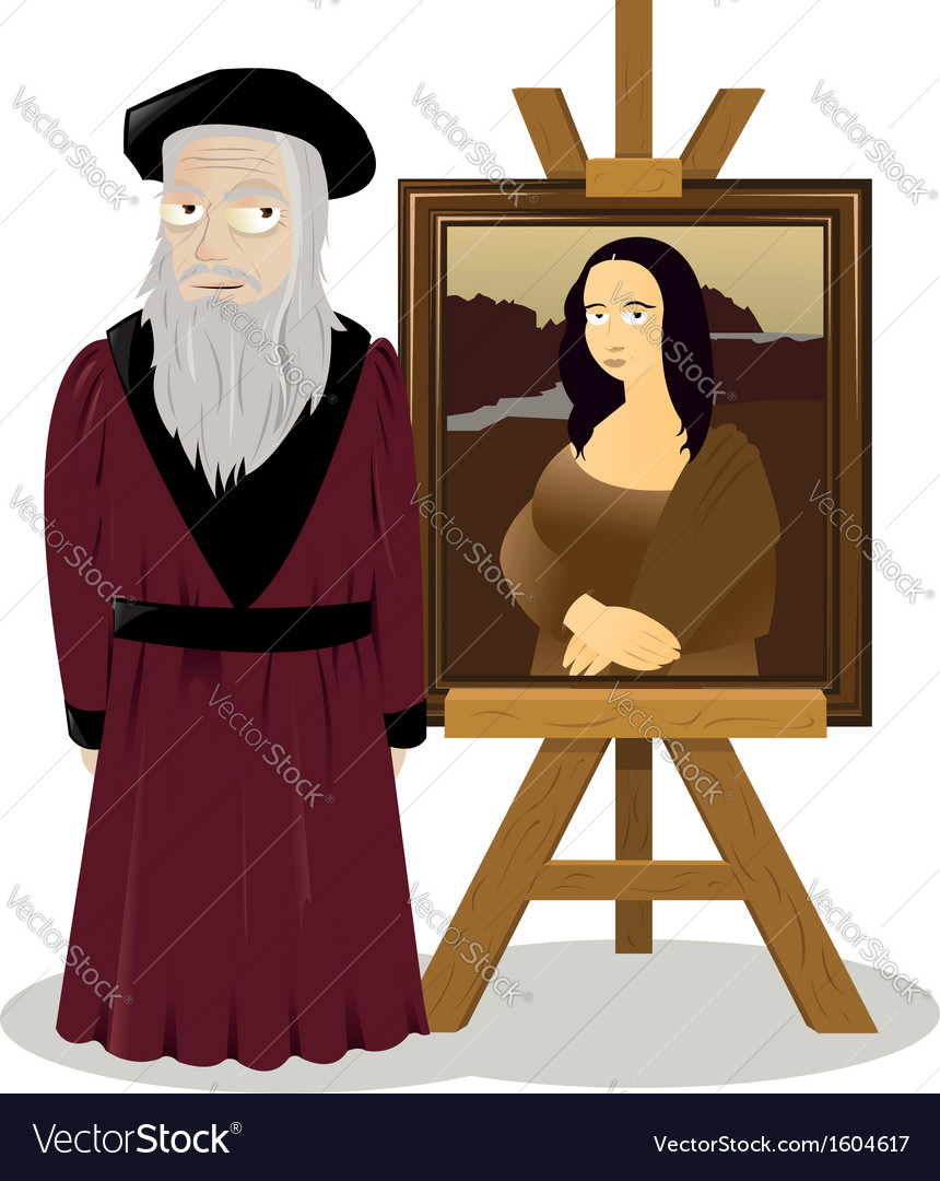 Mona lisa easel and leonardo da vinci vector | Price: 1 Credit (USD $1)