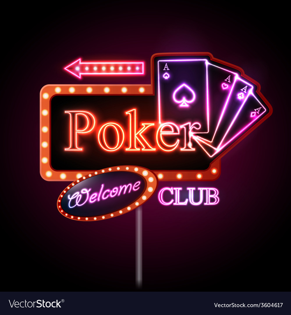 Neon sign poker club vector | Price: 1 Credit (USD $1)