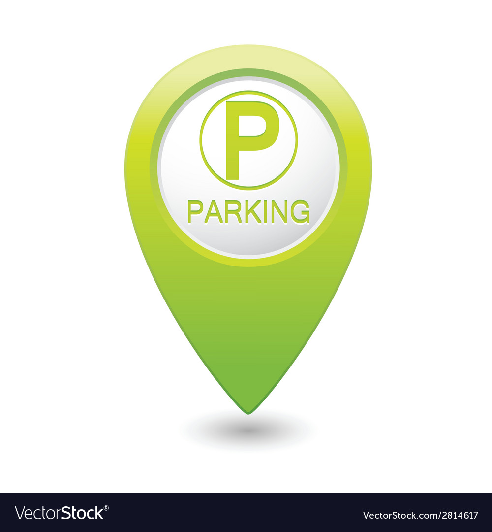 Parking icon on green pointer vector | Price: 1 Credit (USD $1)