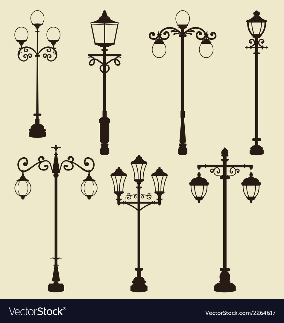 Set of vintage various ornamental streetlamps vector | Price: 1 Credit (USD $1)