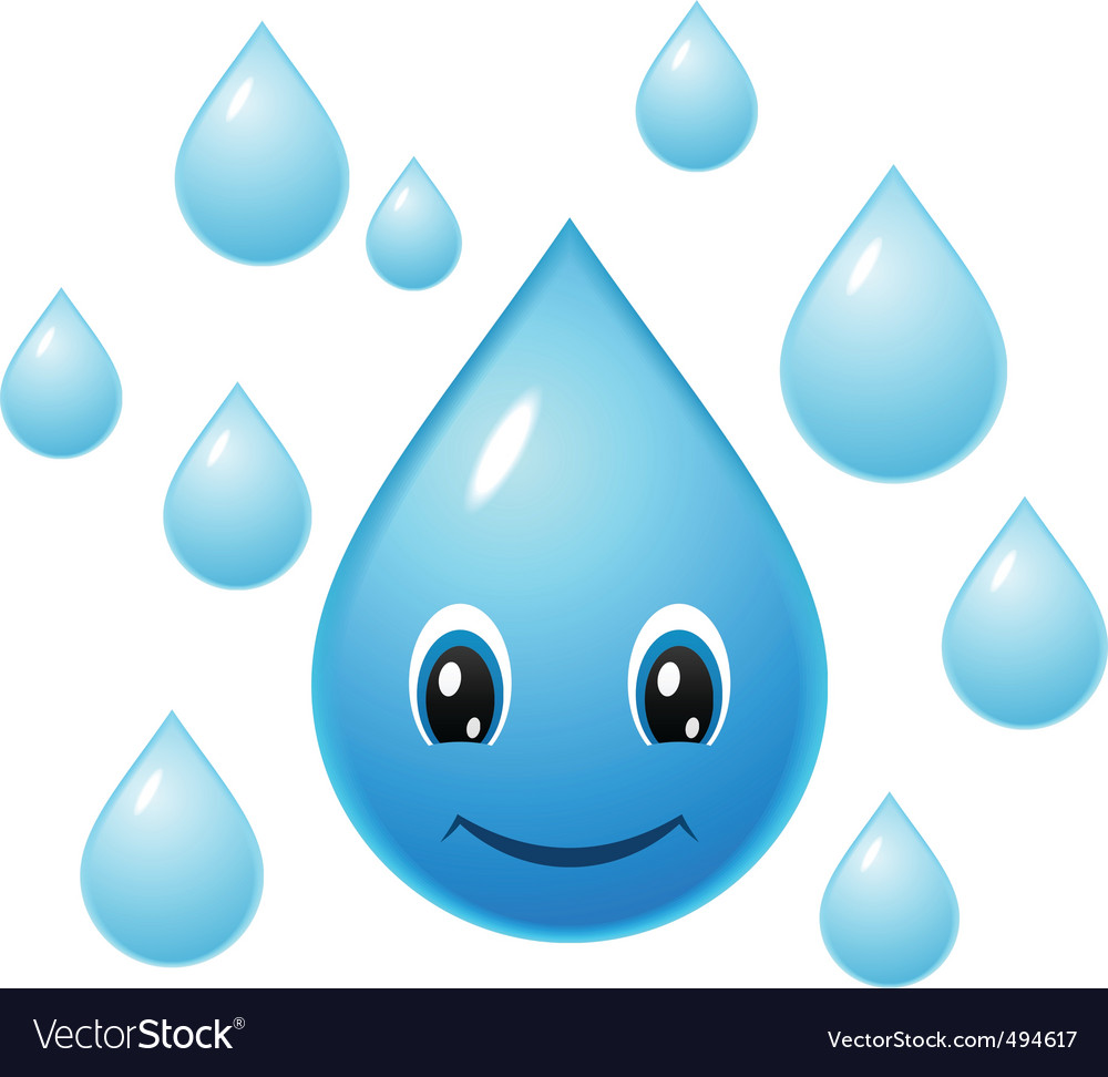 Smiling water droplet vector | Price: 1 Credit (USD $1)