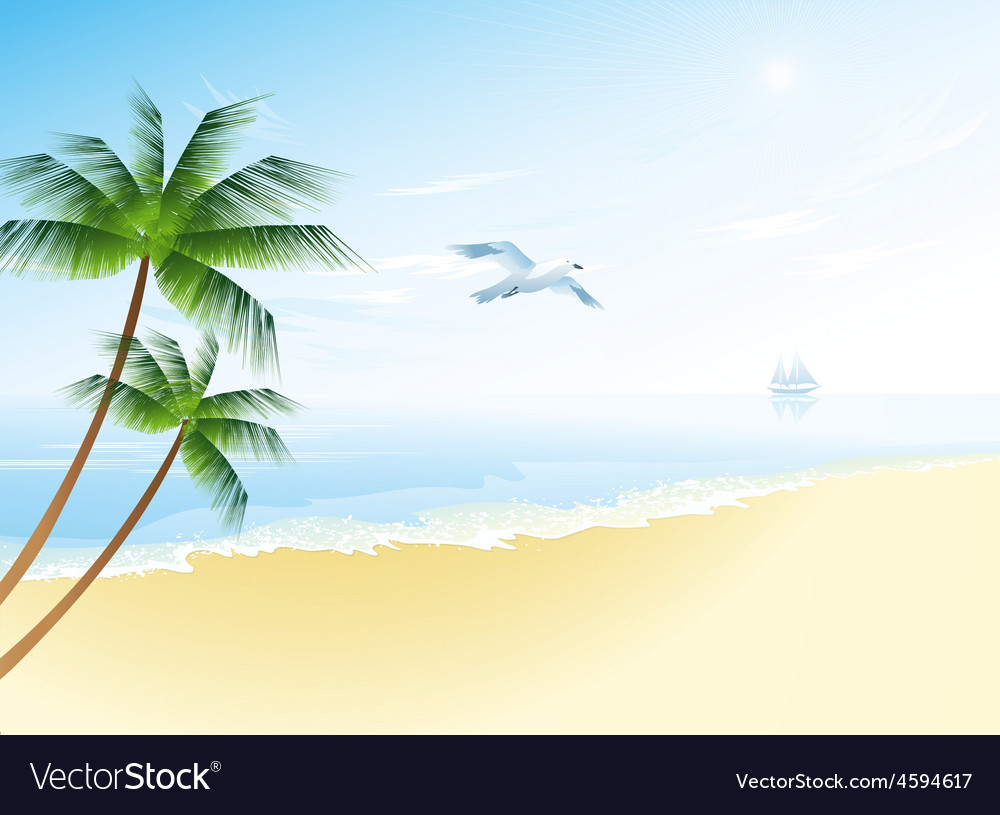 Summer beach with palm trees vector | Price: 3 Credit (USD $3)