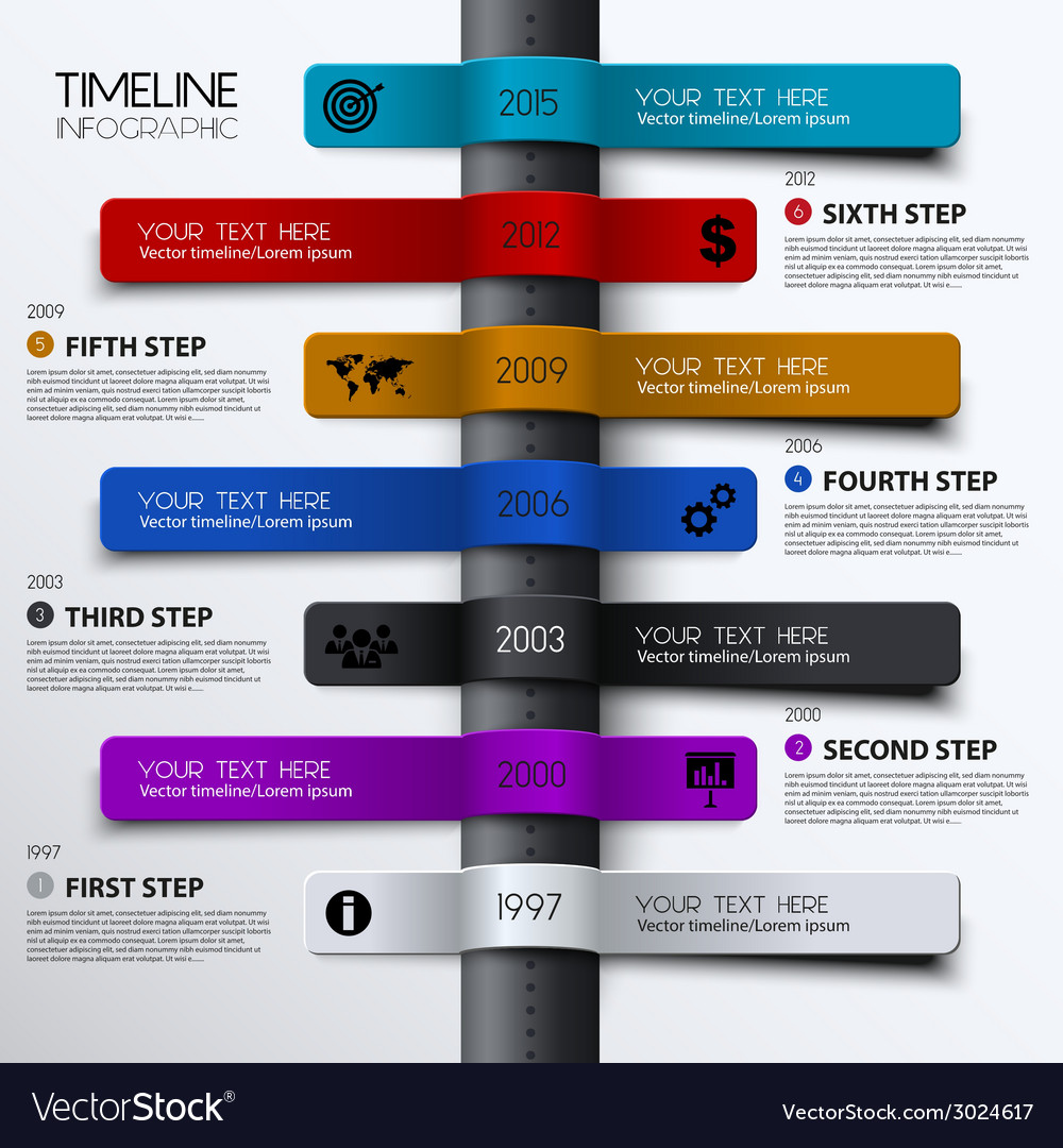Timeline infographic modern simple design vector | Price: 1 Credit (USD $1)