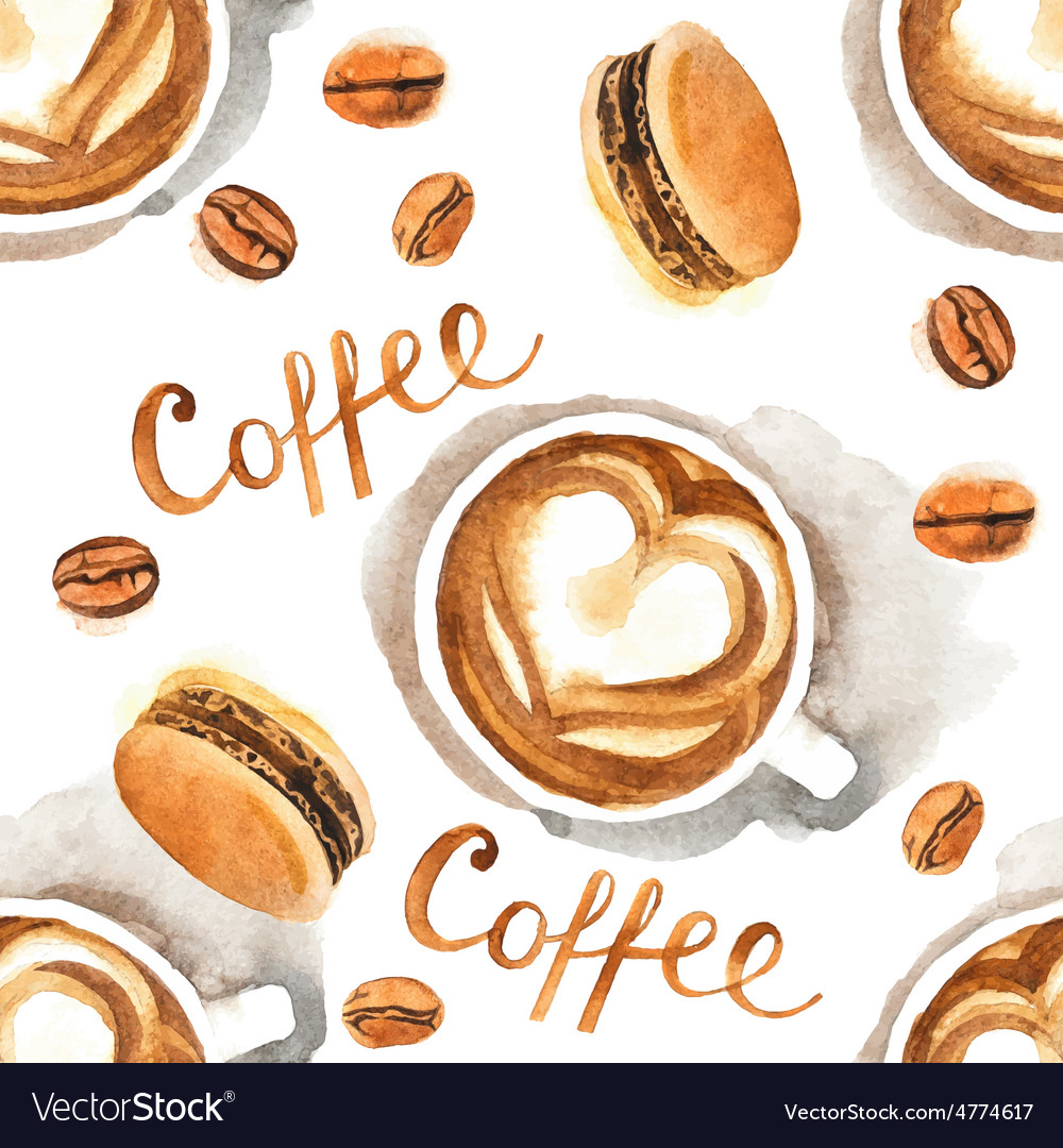 Watercolor coffee seamless vector | Price: 1 Credit (USD $1)