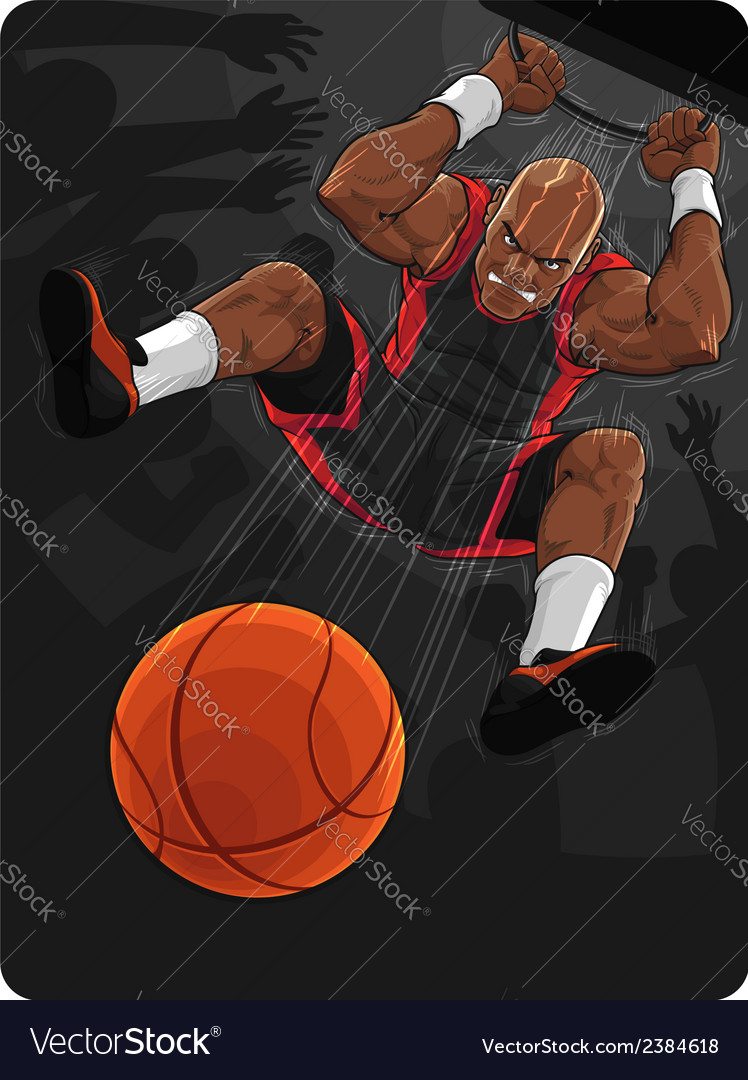 Basketball player doing slam dunk vector | Price: 1 Credit (USD $1)