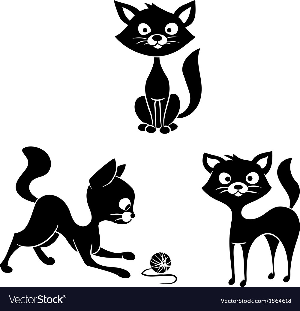 Black and white cats vector   Price: 1 Credit (USD $1)