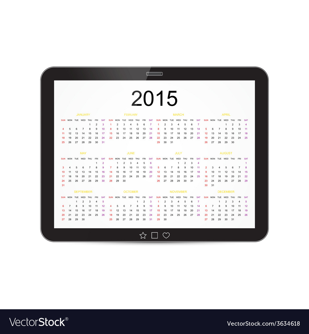 Calendar 2015 tablet vector | Price: 1 Credit (USD $1)