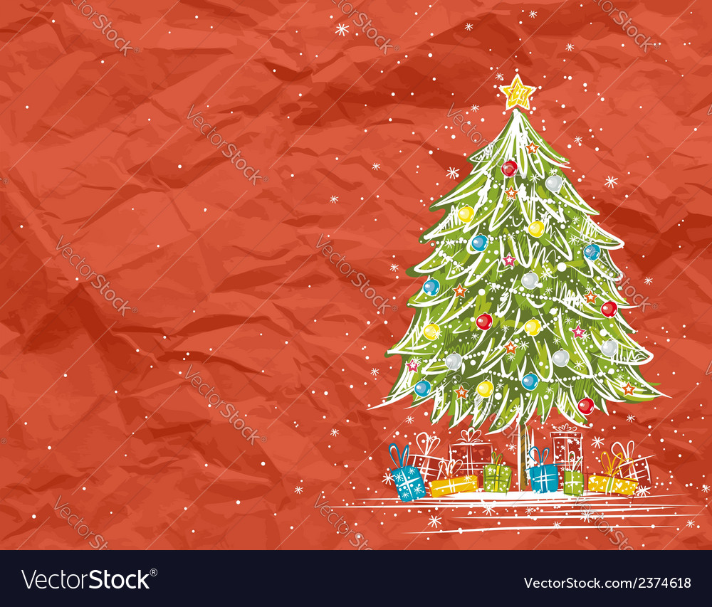 Christmas tree over red crumple background vector | Price: 1 Credit (USD $1)