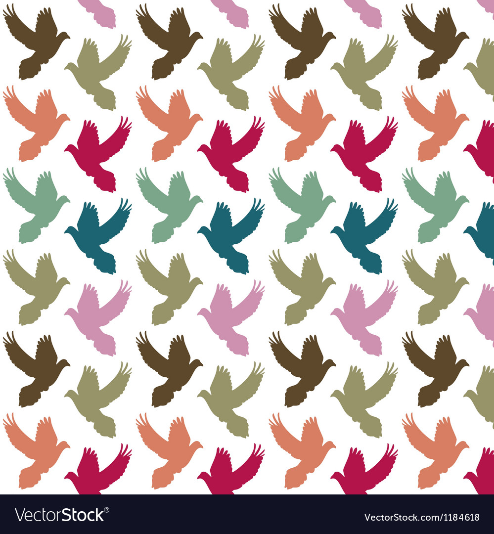 Colorful doves pattern vector | Price: 1 Credit (USD $1)