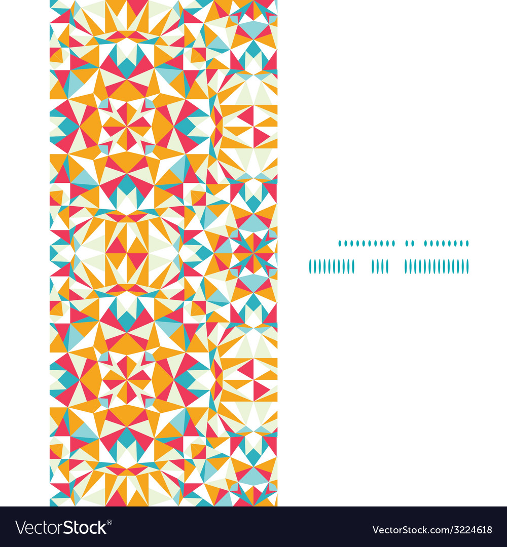 Colorful triangle texture vertical frame seamless vector | Price: 1 Credit (USD $1)