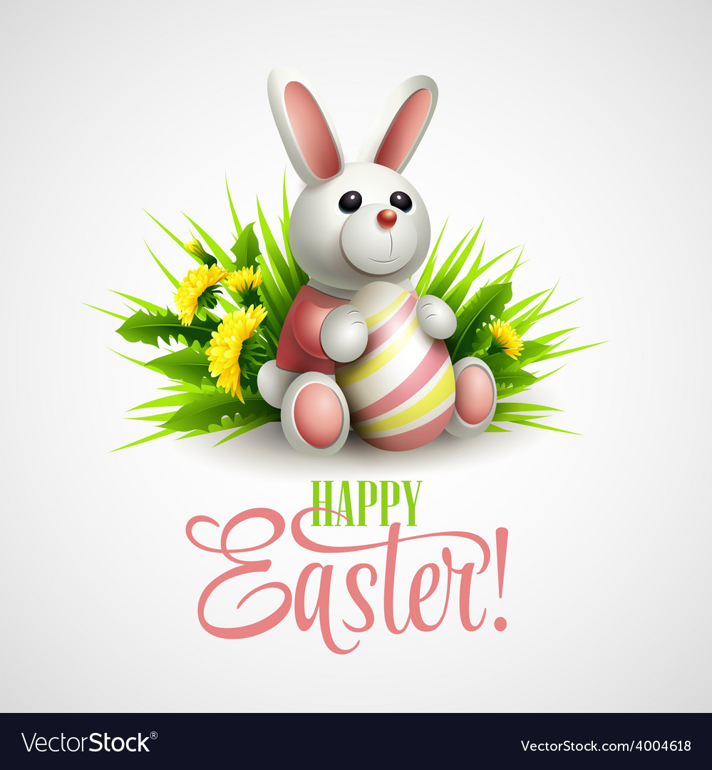 Easter card with bunny eggs and flowers vector