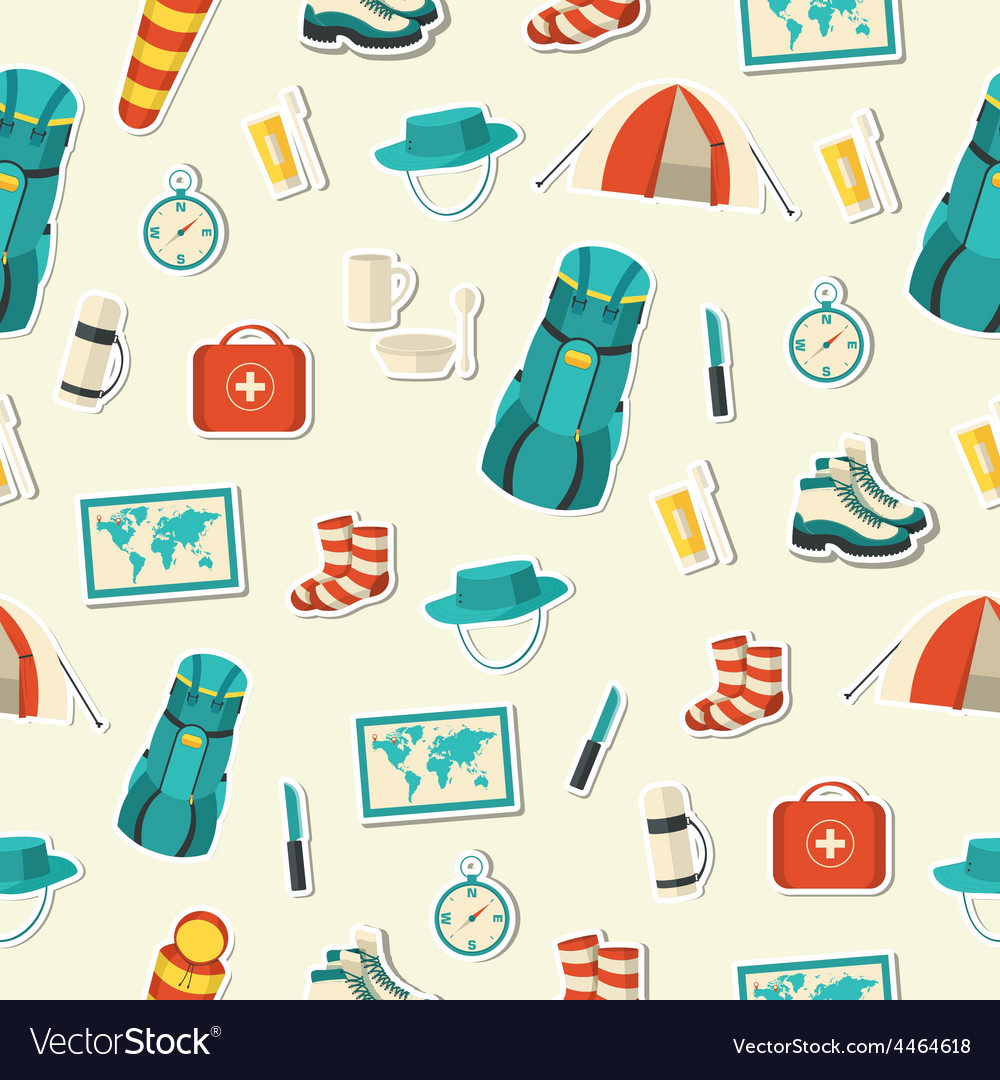 Flat colorful tourist equipment set vector | Price: 1 Credit (USD $1)