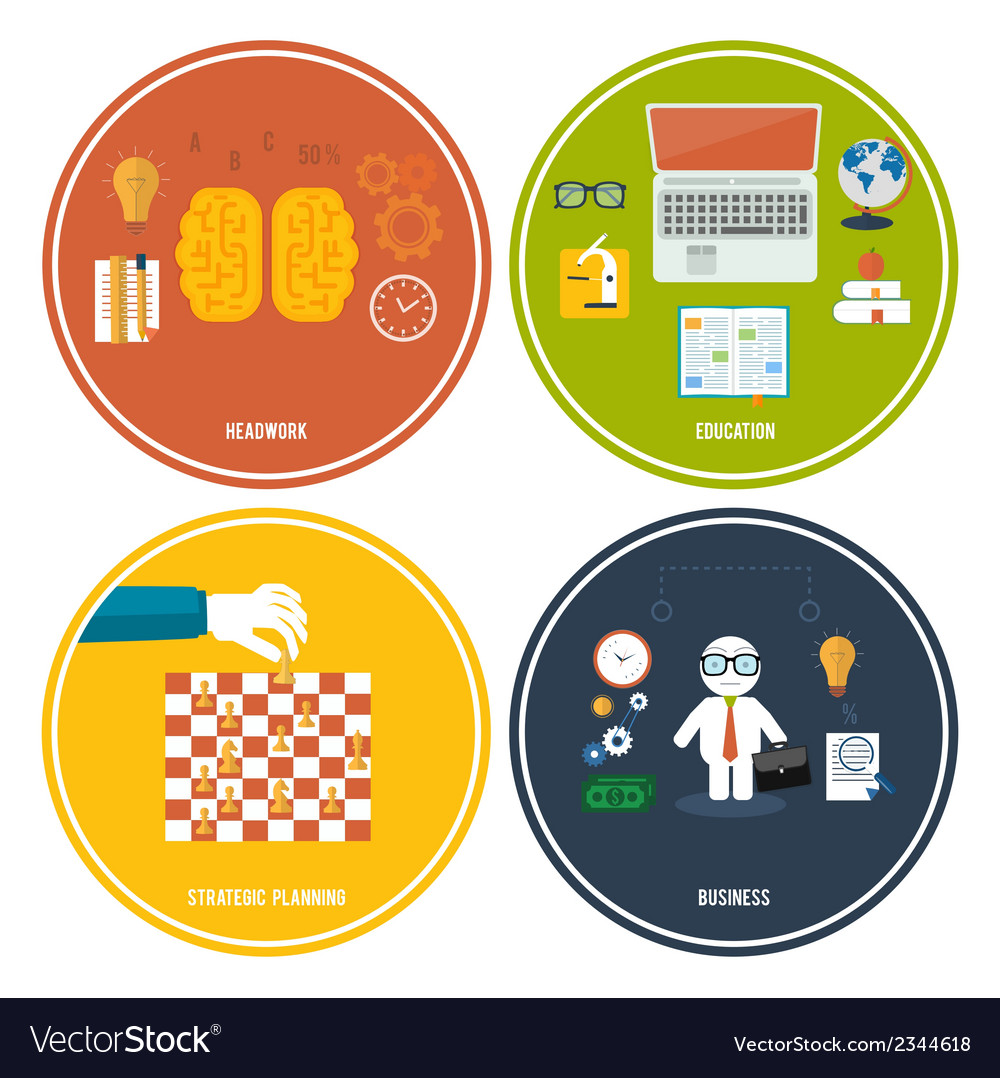 Icons for education headwork strategy business vector | Price: 1 Credit (USD $1)