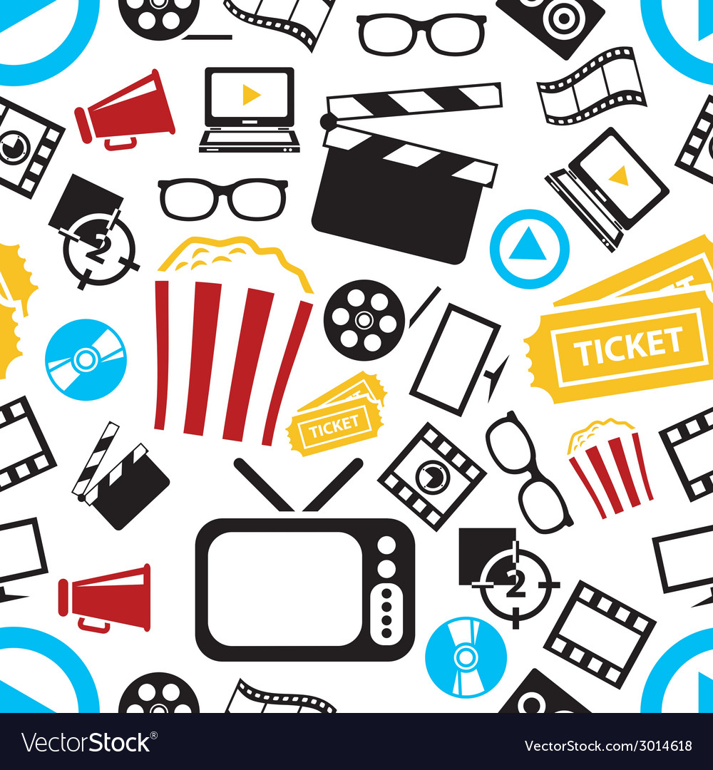 Movie seamless pattern vector | Price: 1 Credit (USD $1)