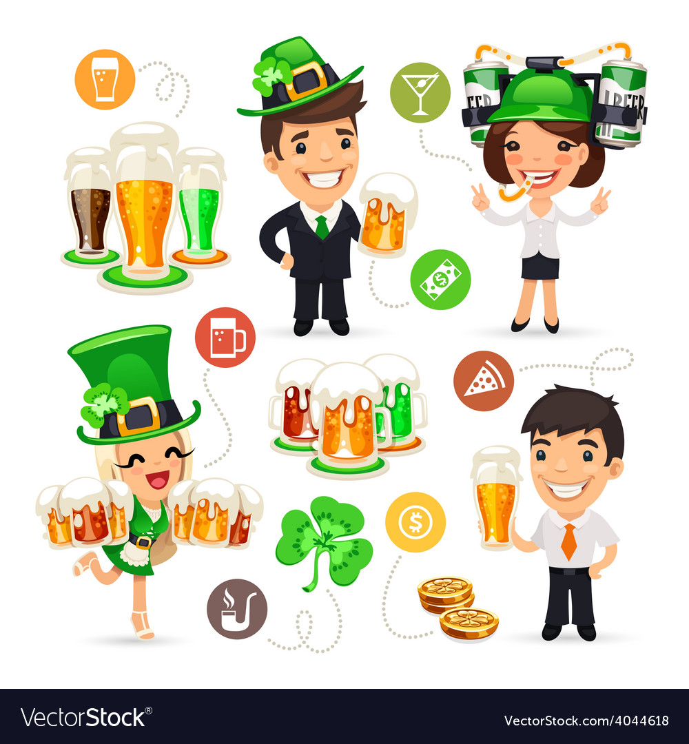 Office workers on the patricks day party vector | Price: 3 Credit (USD $3)