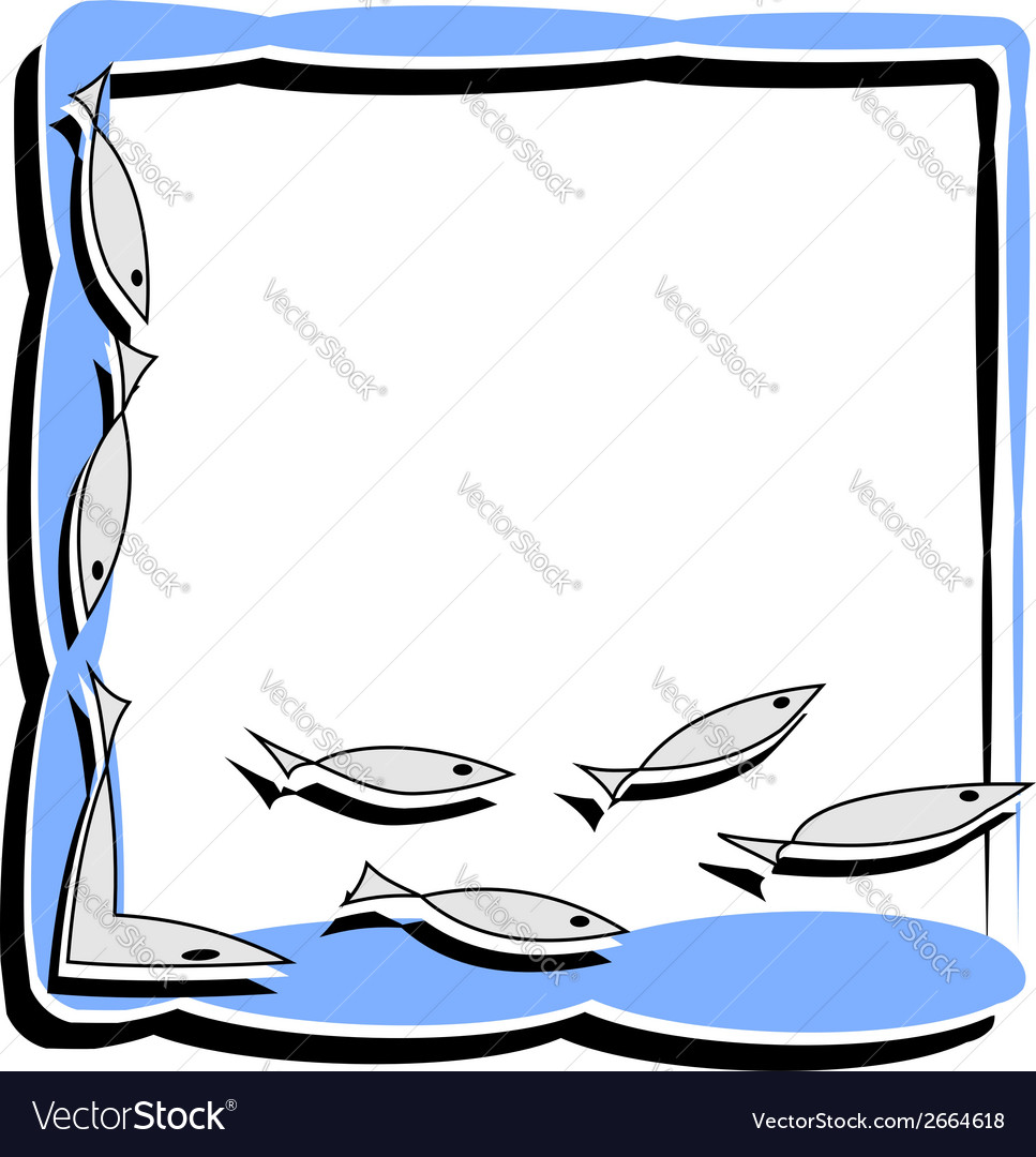 Simple frame with abstract fish vector | Price: 1 Credit (USD $1)