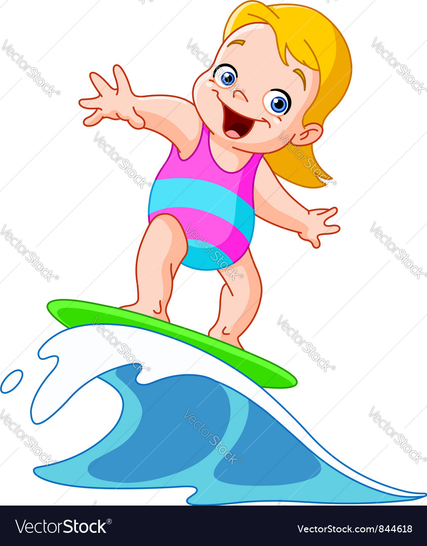 Surfing girl vector | Price: 3 Credit (USD $3)