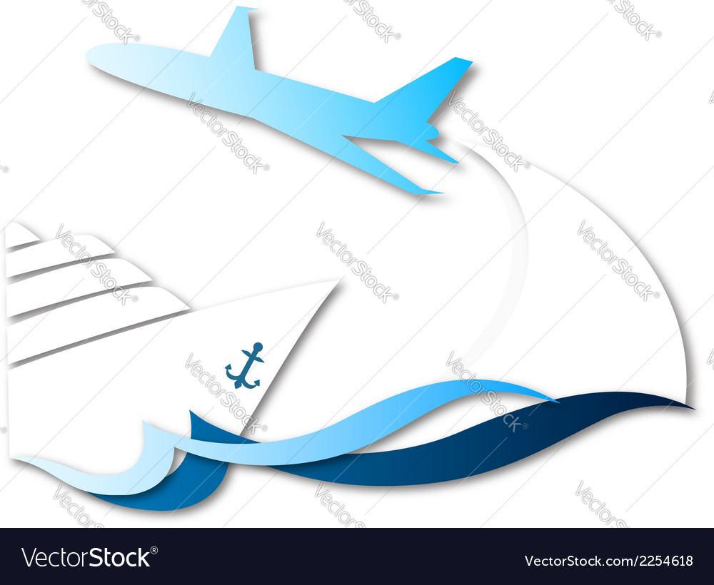 Travel by ship and airplane vector | Price: 1 Credit (USD $1)