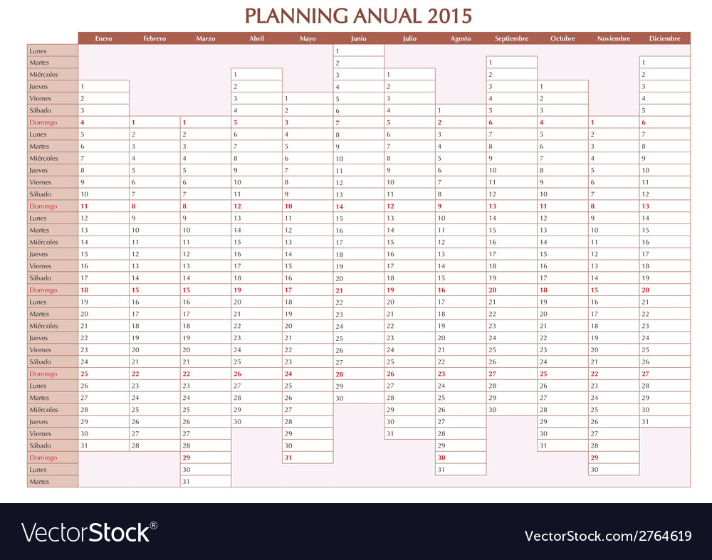 Annual planner 2015 spanish vector | Price: 1 Credit (USD $1)