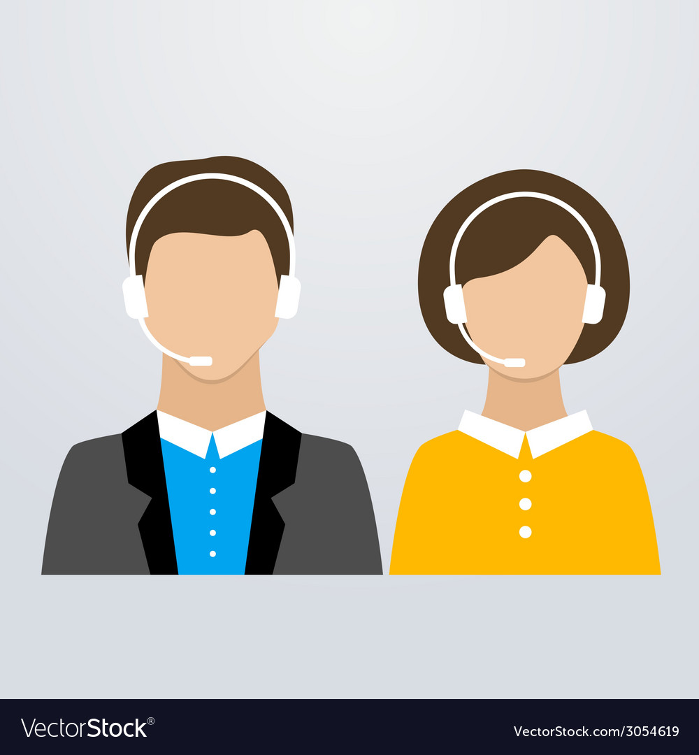 Call center male and female consultants vector | Price: 1 Credit (USD $1)