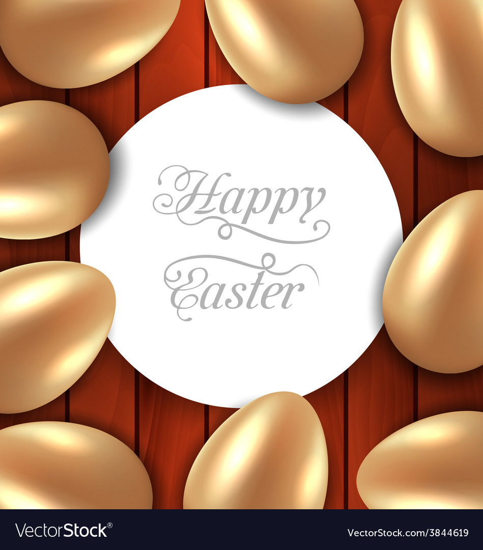 Congratulation card with easter golden glossy eggs vector | Price: 1 Credit (USD $1)