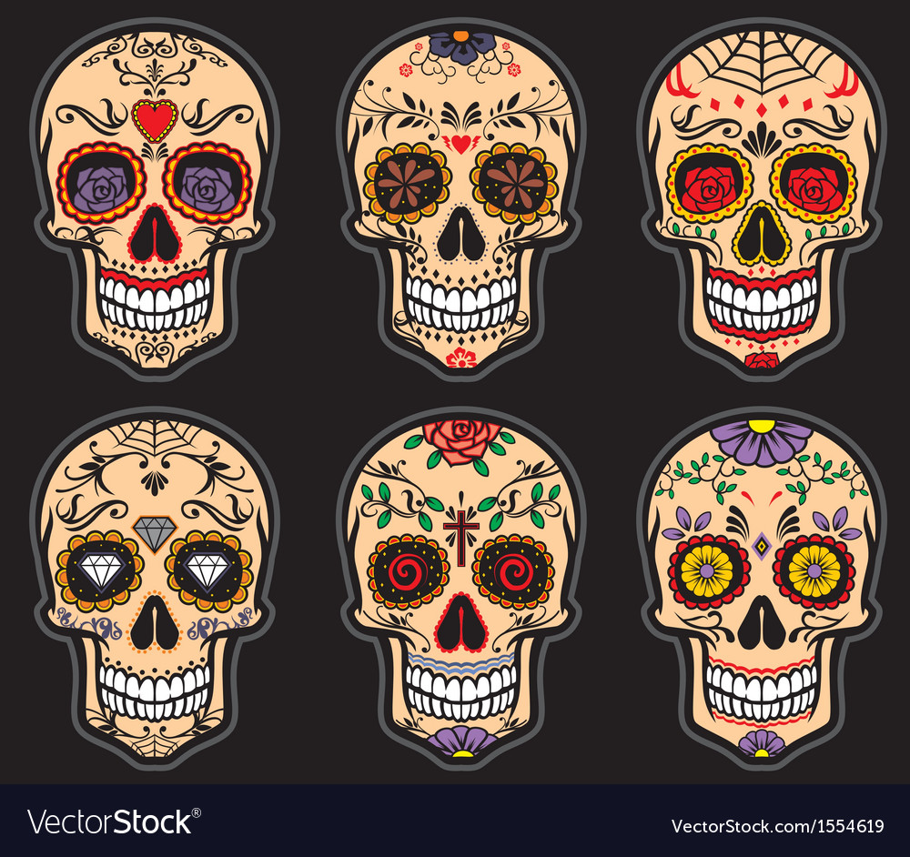 Sugar skull day of the dead set vector | Price: 3 Credit (USD $3)