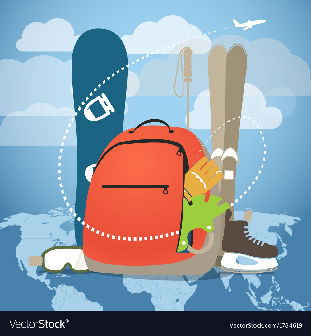 Winter vacation sports equipment vector | Price: 1 Credit (USD $1)
