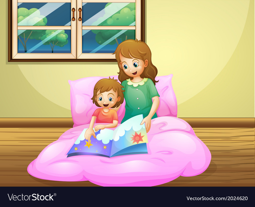 A mother reading with her daughter vector | Price: 3 Credit (USD $3)