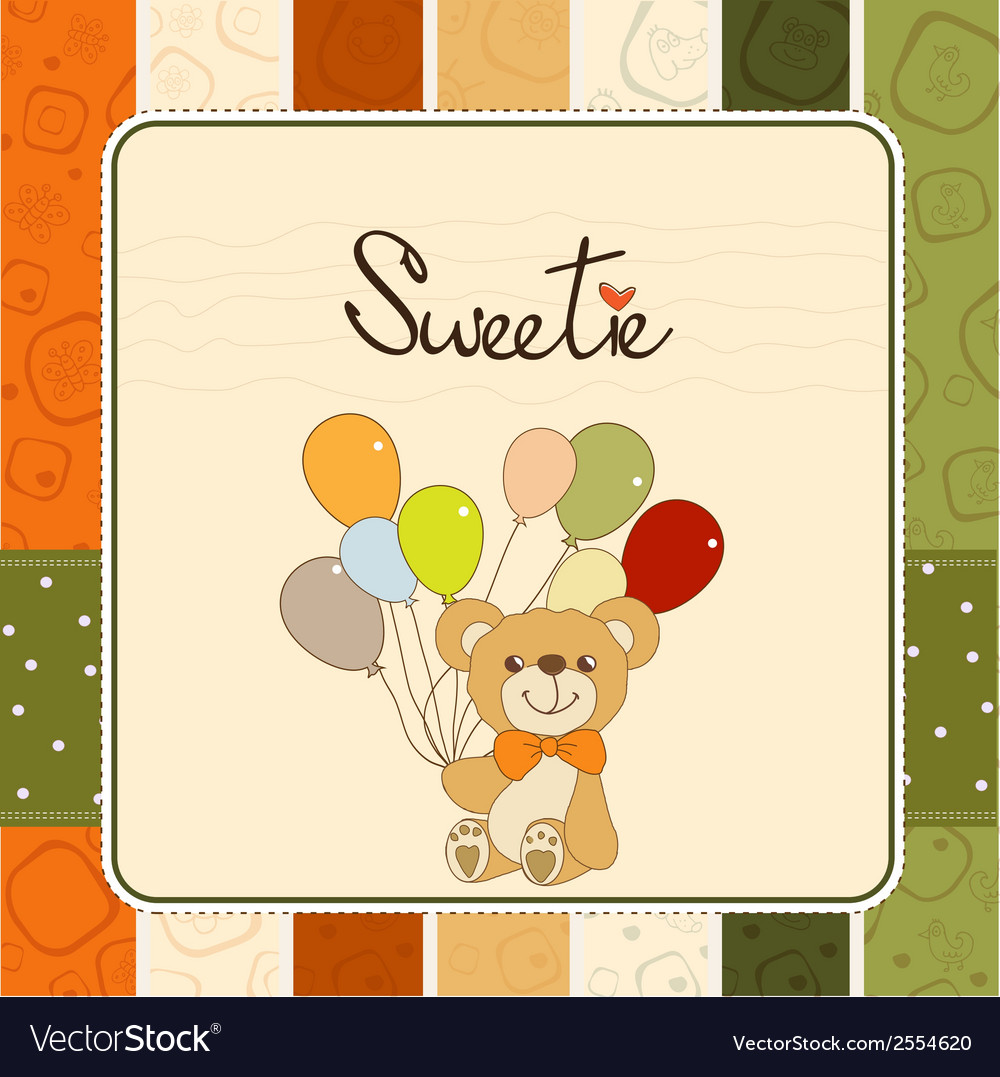 Baby invitation with teddy bear and balloons vector | Price: 1 Credit (USD $1)