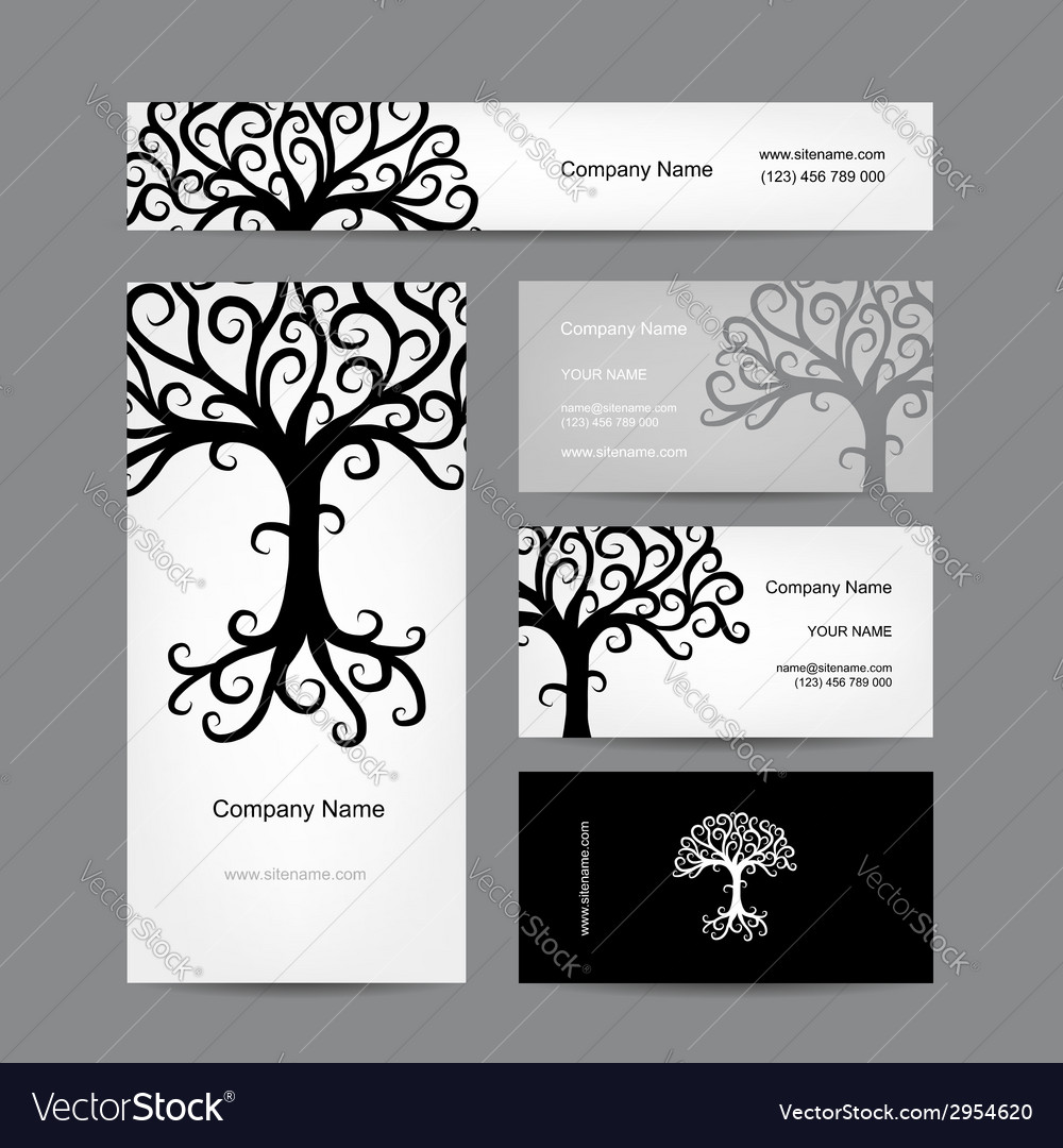 Business cards design with abstract tree vector | Price: 1 Credit (USD $1)