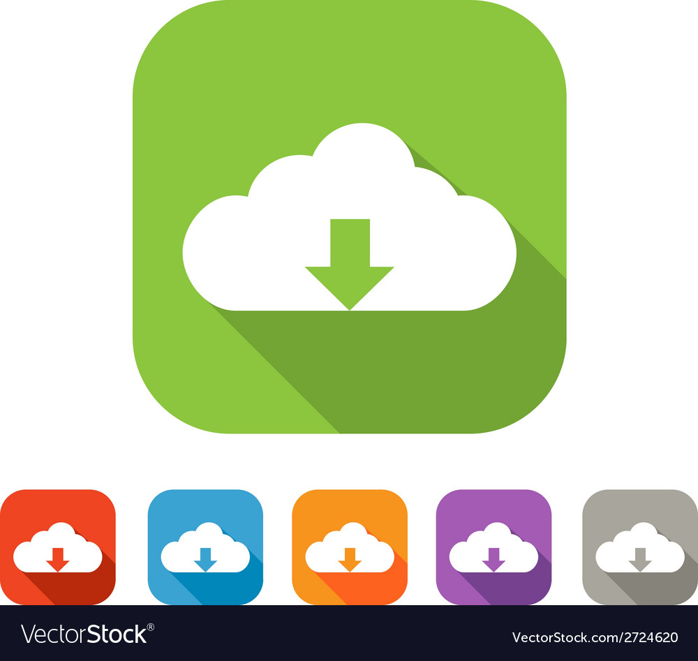 Color set of flat cloud upload icon vector | Price: 1 Credit (USD $1)