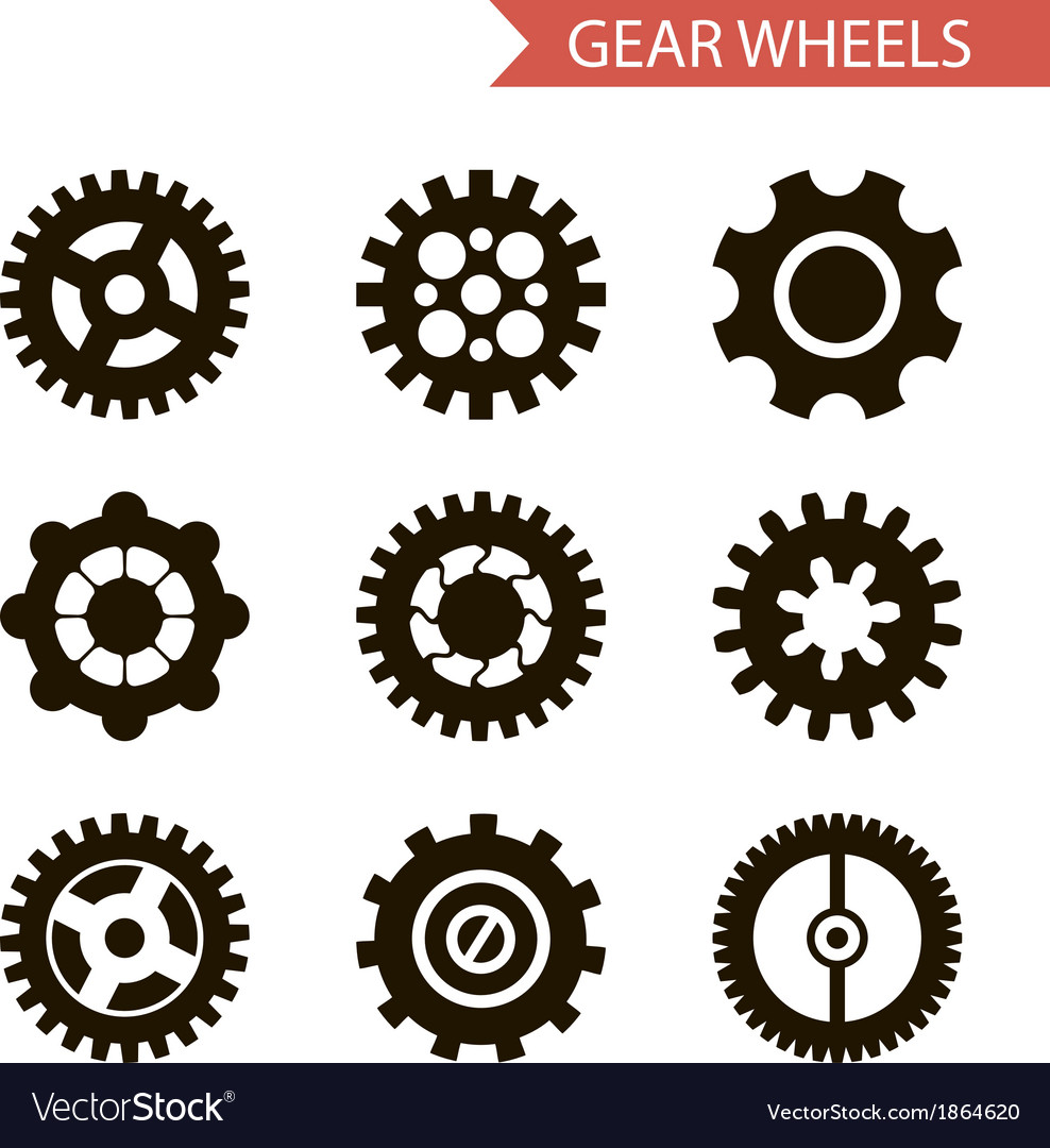 Flat design style black gear wheels icons set vector | Price: 1 Credit (USD $1)