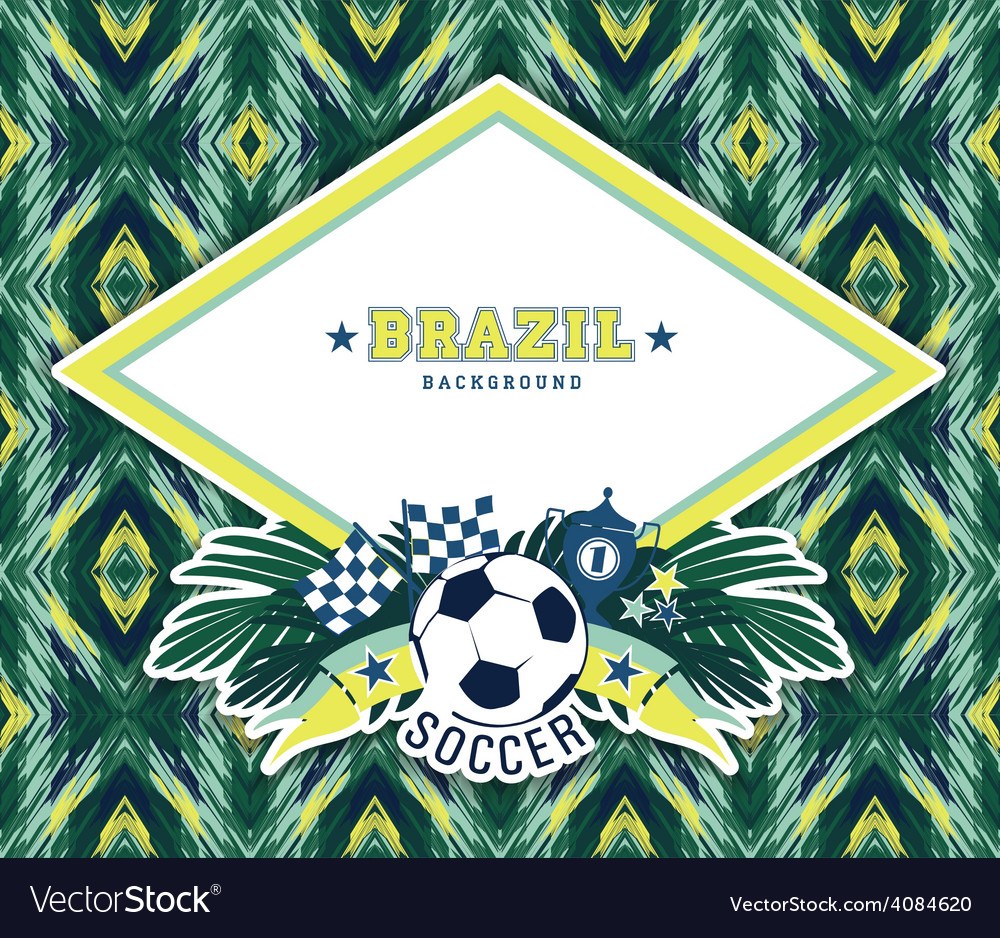 Frame with traditional brazilian football theme vector | Price: 3 Credit (USD $3)
