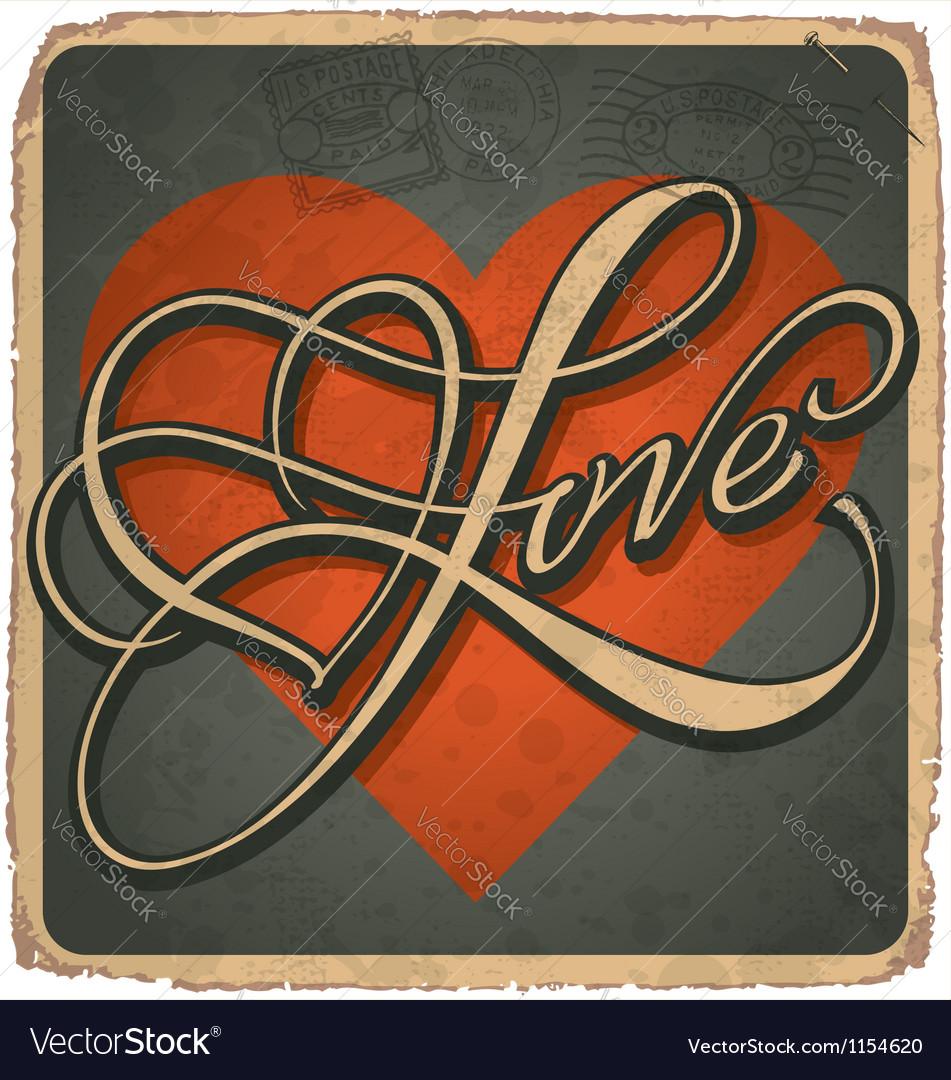 Hand-lettered vintage valentines card vector | Price: 1 Credit (USD $1)